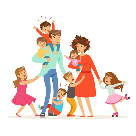 Illustration pour Large family with many children. Kids, babies and their tired parents vector Illustration - image libre de droit