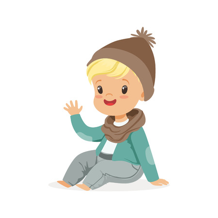 Illustration pour Cute little blonde boy in a brown hat and scarf sitting colorful cartoon character vector Illustration - image libre de droit