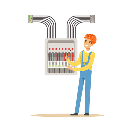 Illustrazione per Electrician engineer screwing equipment in fuse box, electric man performing electrical works vector Illustration - Immagini Royalty Free