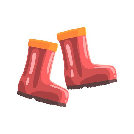 Ilustración de Pair of red rubber boots cartoon vector Illustration - Imagen libre de derechos