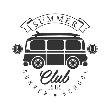 Ilustración de Summer club since 1965, summer school  template, black and white vector Illustration - Imagen libre de derechos