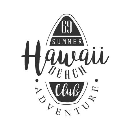 Ilustración de Hawaii beach adventure club template, black and white vector Illustration - Imagen libre de derechos
