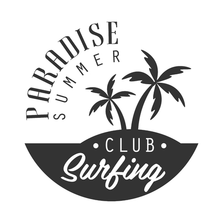 Illustration for Paradise summer, surfing club logo template, black and white vector Illustration - Royalty Free Image