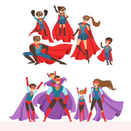 Illustration pour Family of superheroes set. Smiling parents and their children dressed in superheroes costumes colorful vector illustrations isolated on a light blue background - image libre de droit