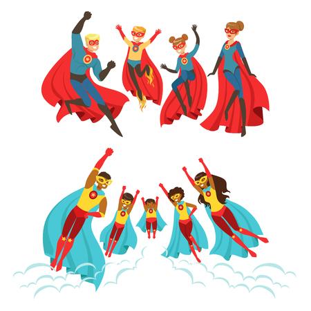 Ilustración de Happy family of superheroes set. Smiling parents and their children dressed as superheroes colorful vector illustrations - Imagen libre de derechos