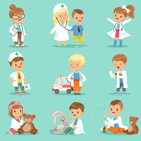 Illustration pour Cute kids playing doctor set. Smiling little boys and girls dressed as doctors examining and treating their patients vector illustrations - image libre de droit