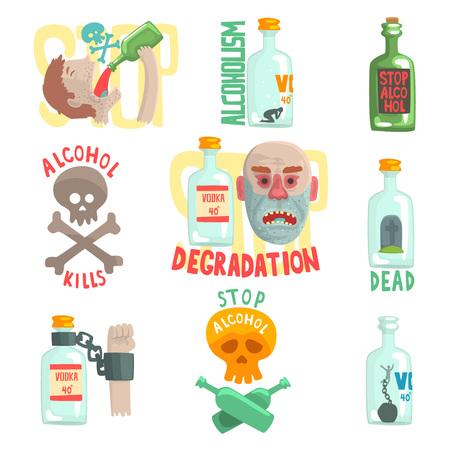 Illustration pour Dangers and risk from alcohol set, alcoholism vector Illustrations - image libre de droit