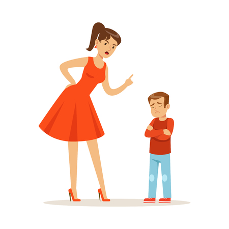 Illustrazione per Mother character scolding her upset son vector Illustration - Immagini Royalty Free