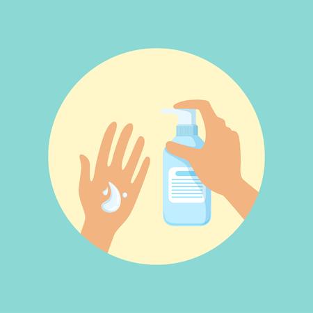 Ilustración de Washing hands with liquid soap round vector Illustration - Imagen libre de derechos