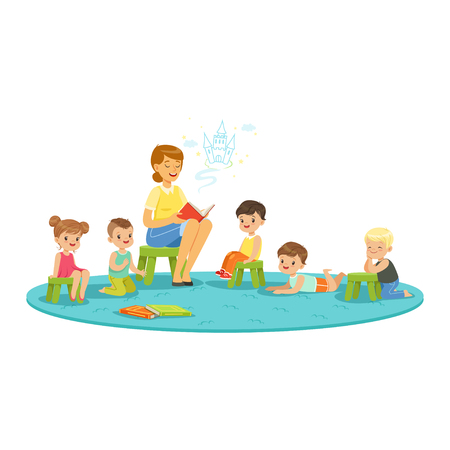Illustration for Teacher reading a fairytale to kids, childrens education and upbringing in school, preschool or kindergarten, colorful characters - Royalty Free Image