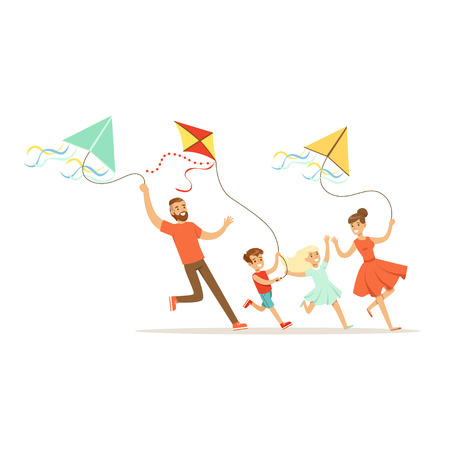 Illustration pour Happy family with two kids having fun flying kites, colorful character vector Illustration - image libre de droit