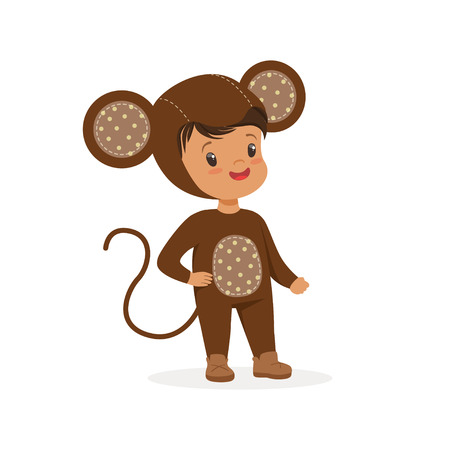 Illustrazione per Cute happy boy dressed as a monkey, kids carnival costume vector Illustration - Immagini Royalty Free