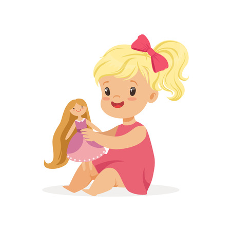Ilustración de Sweet little girl in a pink dress playing with her doll, colorful character vector Illustration - Imagen libre de derechos
