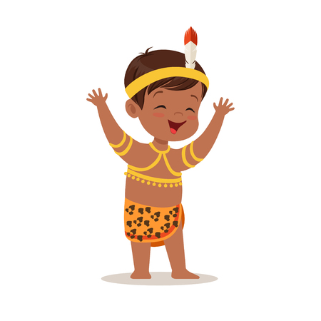 Illustration for Boy wearing national costume of Africa colorful character vector Illustration - Royalty Free Image