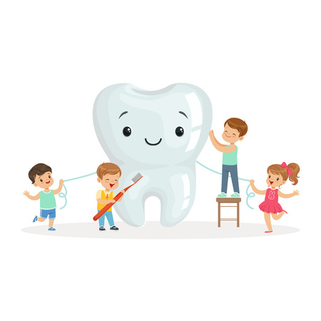 Ilustración de Happy kids cleaning a big tooth with a brush and dental floss, cute cartoon characters vector Illustration on a white background - Imagen libre de derechos