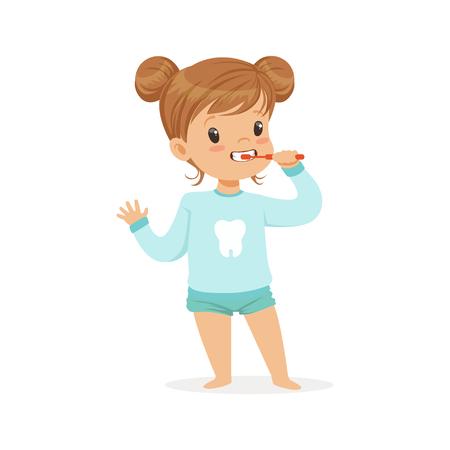 Illustration pour Adorable cartoon girl brushing her teeth, kids dental care vector Illustration on a white background - image libre de droit
