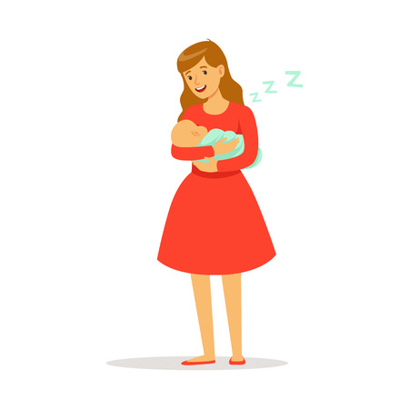 Illustration pour Beautiful young mother in red dress rocking her newborn baby to sleep colorful vector Illustration - image libre de droit