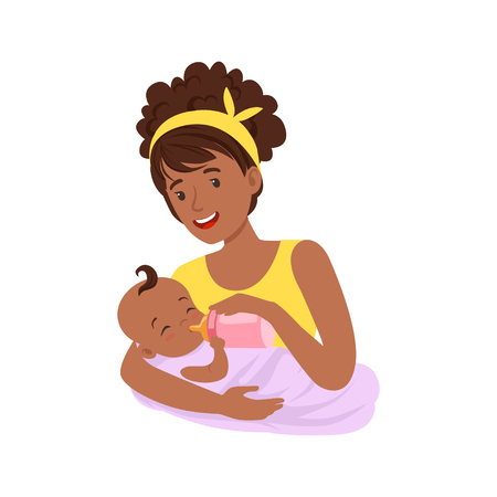 Illustrazione per Young black mother breastfeeding her baby with breast milk, colorful vector Illustration - Immagini Royalty Free