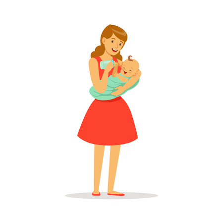 Illustration pour Beautiful young mother in red dress holding her baby and feeding with milk bottle colorful vector Illustration - image libre de droit