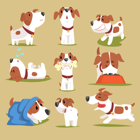 Illustration for Funny puppy daily routine set, cute little dog in his evereday activity colorful character vector Illustrations - Royalty Free Image