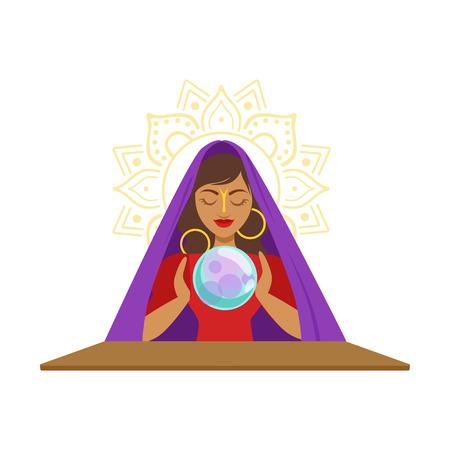 Ilustración de Fortune teller watching crystal ball, occult ritual vector Illustration - Imagen libre de derechos