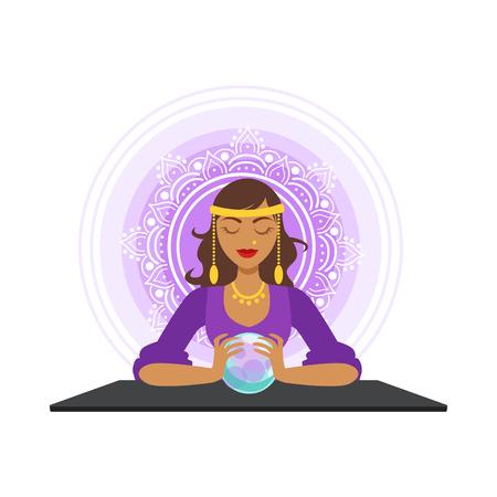 Ilustración de Fortune teller forecasting with the ball, occult ritual vector Illustration - Imagen libre de derechos