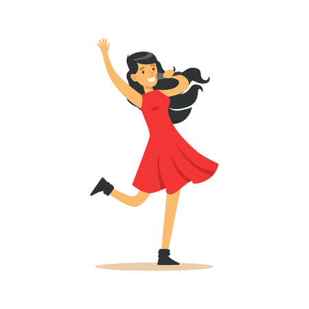Ilustración de Young beautiful brunette girl in red dress with microphone performing a song vector Illustration - Imagen libre de derechos