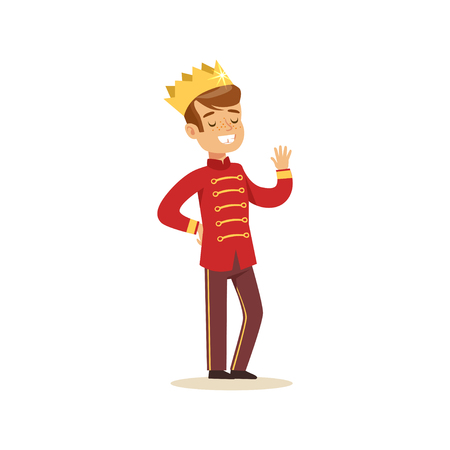 Illustration for Cute little boy wearing in a red prince costume, fairytale costume for party or holiday vector Illustration - Royalty Free Image
