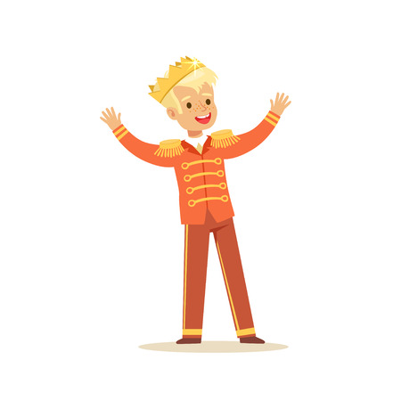 Illustration for Cute little blonde boy wearing a prince costume, fairytale costume for party or holiday vector Illustration - Royalty Free Image