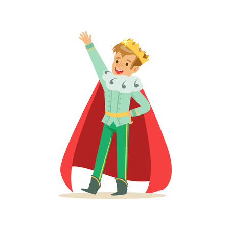 Illustration for Cute happy boy prince in a golden crown and red cloak, fairytale costume for party or holiday vector Illustration - Royalty Free Image