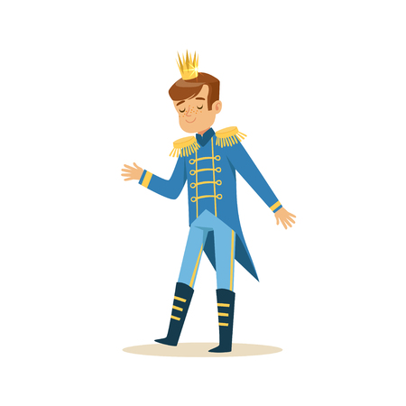 Illustration for Cute little boy wearing a blue prince costume, fairytale costume for party or holiday vector Illustration - Royalty Free Image
