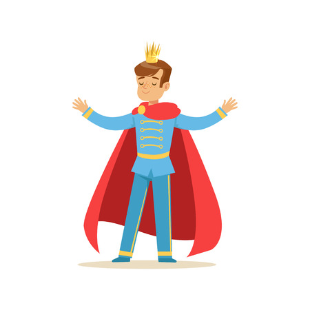 Illustration for Cute boy prince in a golden crown and red cloak, fairytale costume for party or holiday vector Illustration - Royalty Free Image