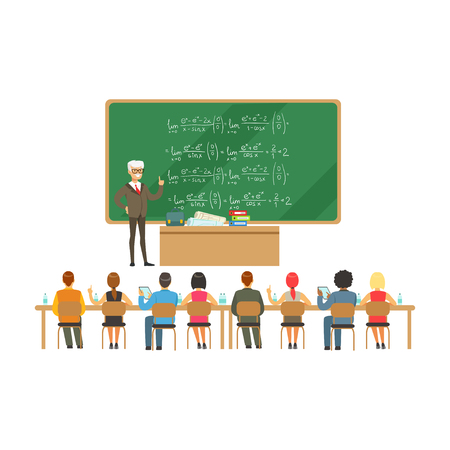 Ilustración de Professor near the blackboard with formulas talking to group of students during the university lecture, high school education vector Illustration - Imagen libre de derechos