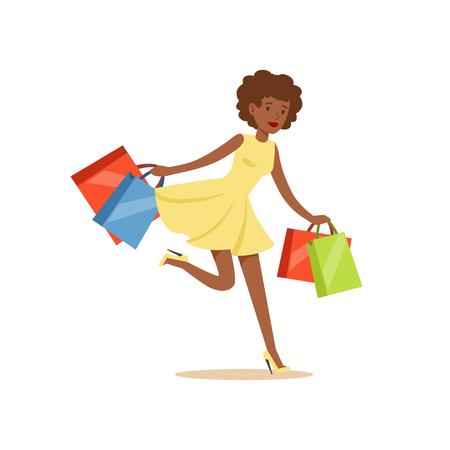 Ilustración de Young black beautiful woman running with a lot of shopping bags colorful character vector Illustration - Imagen libre de derechos