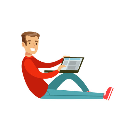 Illustration pour Young smiling man sitting on the floor using his laptop colorful character vector Illustration - image libre de droit