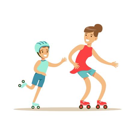 Ilustración de Smiling woman and boy roller skating, mom and son having good time together colorful characters - Imagen libre de derechos