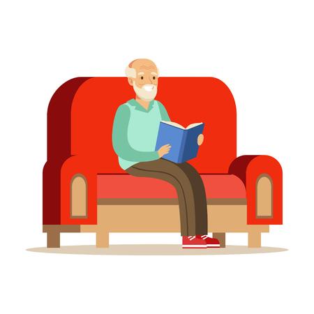 Ilustración de Grey senior man sitting on the sofa and reading a book colorful character vector Illustration - Imagen libre de derechos