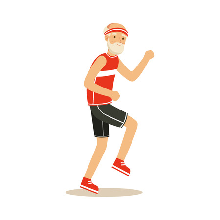 Ilustración de Happy senior runner man doing exercise to stay healthy, healthy active lifestyle colorful characters vector Illustration - Imagen libre de derechos