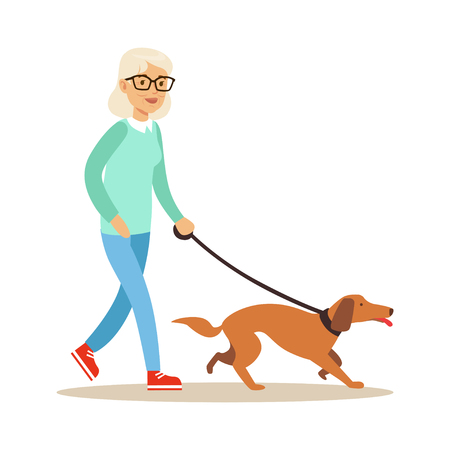 Foto per Senior woman walking with dog, healthy active lifestyle colorful characters vector Illustration - Immagine Royalty Free