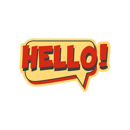 Ilustración de Hello short phrase, speech bubble in retro style vector Illustration - Imagen libre de derechos
