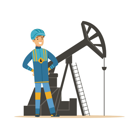 Ilustración de Smiling oilman standing next to an oil rig drilling platform, oil industry extraction and refinery production vector Illustration - Imagen libre de derechos