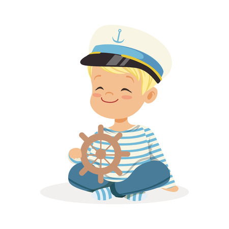 Illustration pour Cute smiling little boy character wearing a sailors costume sitting on the floor playing toy wooden ship wheel colorful vector Illustration - image libre de droit