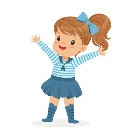 Illustration pour Beautiful little girl character wearing a sailors costume colorful vector Illustration - image libre de droit