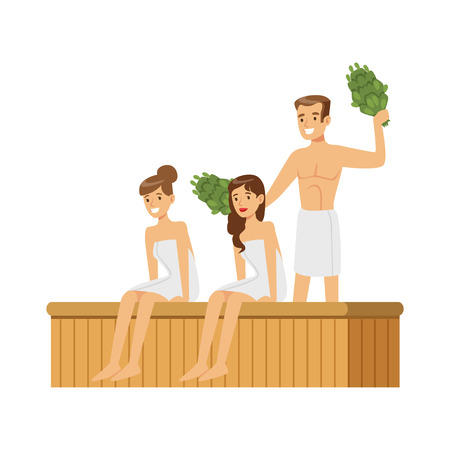 Illustration pour People wearing towels steaming with birch broom in sauna steam room, spa procedures colorful vector Illustration - image libre de droit