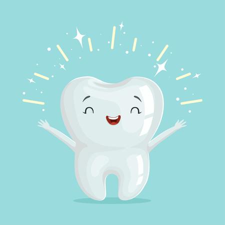 Ilustración de Cute healthy shiny cartoon tooth character, childrens dentistry concept vector Illustration - Imagen libre de derechos