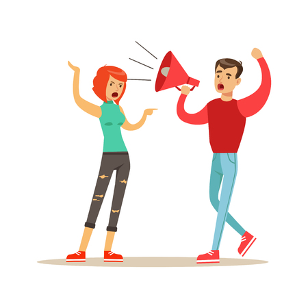Ilustración de Young men characters shouting to a woman through a megaphone, negative emotions concept vector Illustration - Imagen libre de derechos