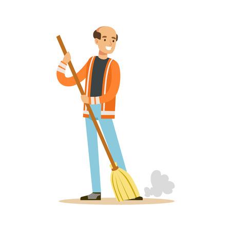 Ilustración de Smiling mature street sweeper at work, street cleaner character vector Illustration - Imagen libre de derechos