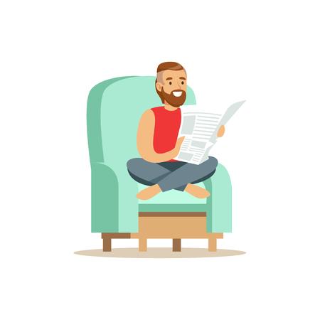 Ilustración de Young bearded man sitting on a light blue armchair and reading a newspaper, man resting at home vector Illustration - Imagen libre de derechos