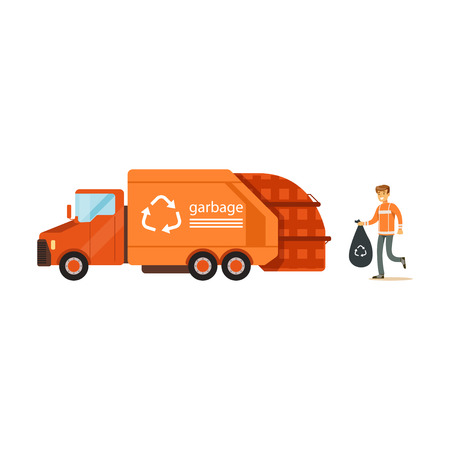 Illustration pour Worker loading rubbish bag into garbage collector truck, waste recycling and utilization concept vector Illustration - image libre de droit