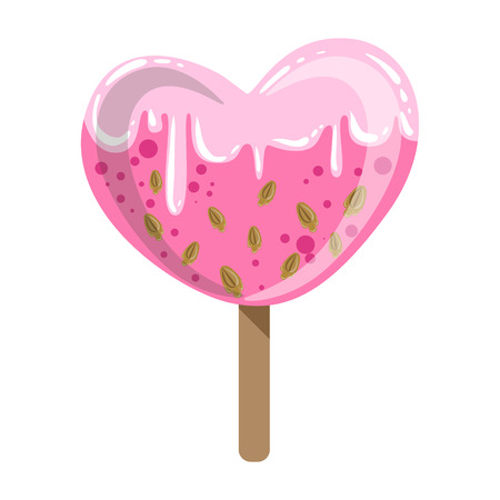 Illustration pour Heart Shaped Glazed Ice-Cream Bar On A Stick With Sprinkles, Colorful Isolated Cartoon Object - image libre de droit